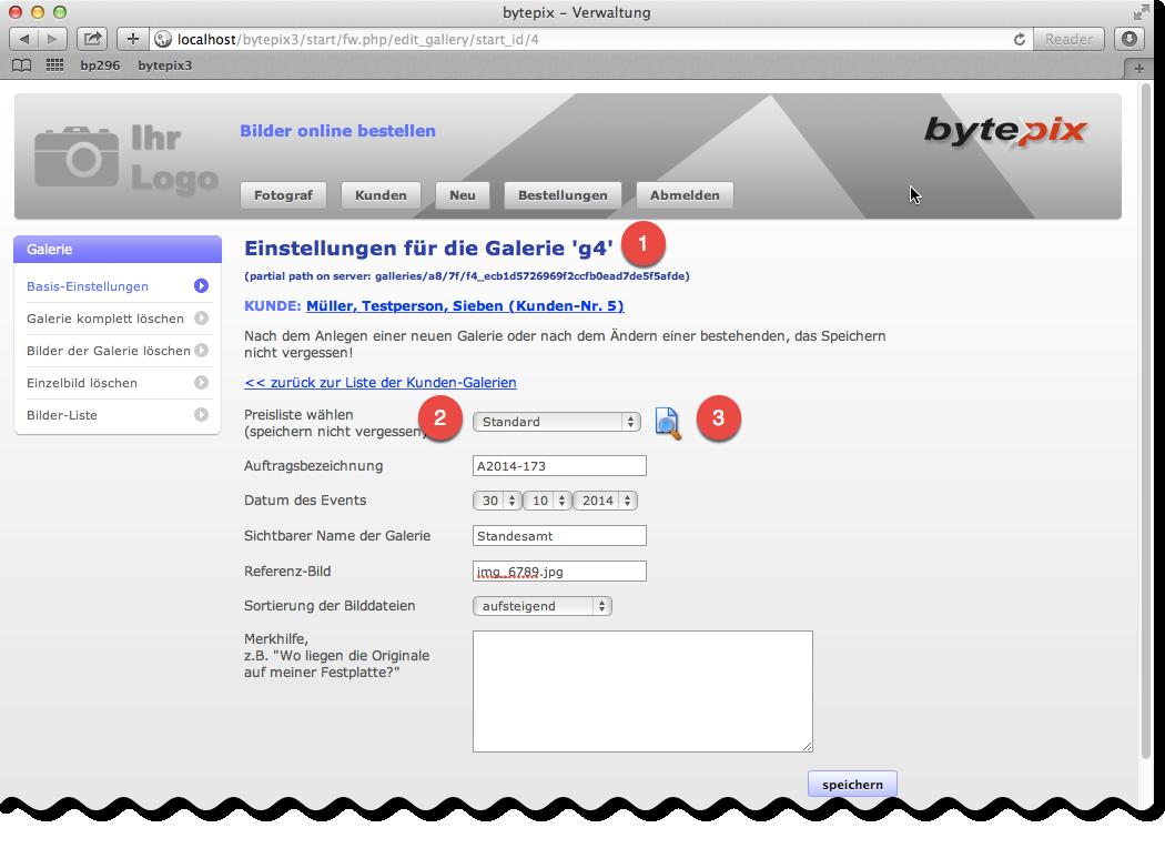 bytepix - Galerien einrichten