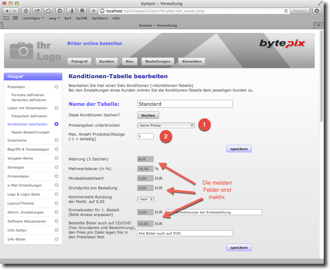 bytepix - Konditionen-Tabellen