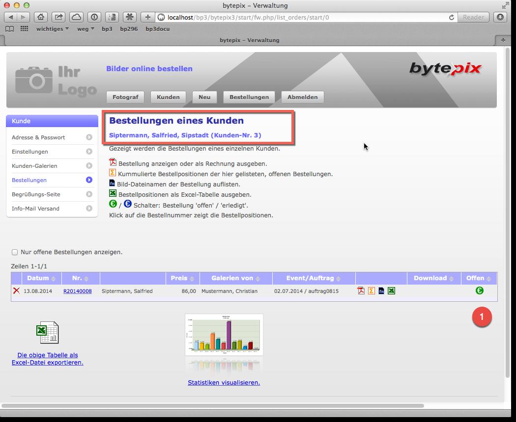bytepix - Bestellungen bearbeiten