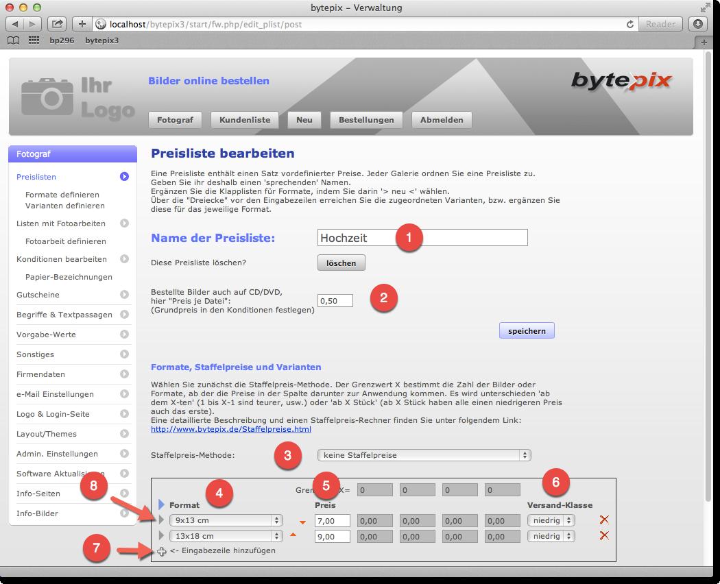 bytepix - Preislisten und Listen mit Fotoarbeiten